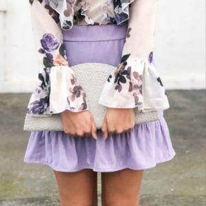 J.Crew Peplum Velvet Mini Short Skirt Purple